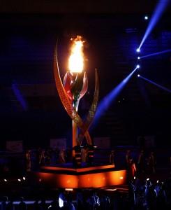 إيقاد شعلة دورة الألعاب الرياضية الخليجية الثانية